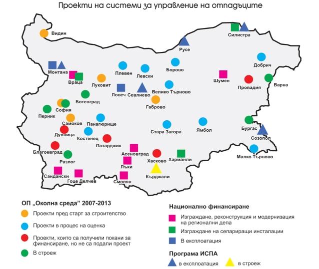"""инфографика -""""Проекти на системи за управление на отпадъците"""" © infrastructure.bg"""